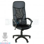 Кресло Элегант L1 (сетка черная, вставки кожзам черный)