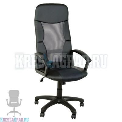 Кресло Элегант L1 (сетка серая, вставки кожзам черный)