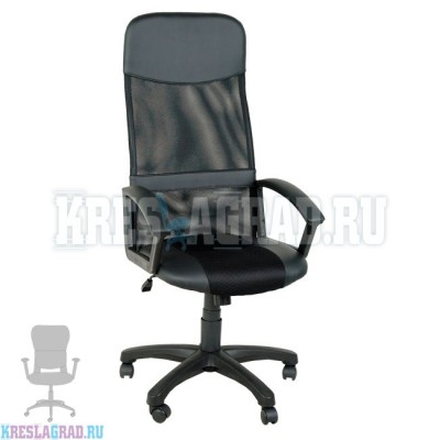 Кресло Элегант L2 (сетка черная, вставки кожзам черный)