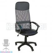 Кресло Элегант L2 (сетка серая, вставки кожзам черный)