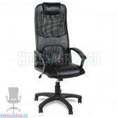 Кресло Элегант L3 (кожзам черный, вставки сетка черная)
