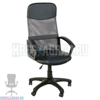 Кресло Элегант M2 (сетка серая, вставки кожзам черный)