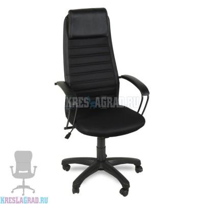 Кресло Элегия L2 (сетка черная, вставки кожзам черный)