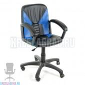Кресло Фортуна 1 (кожзам Атзек черный, вставки синие)