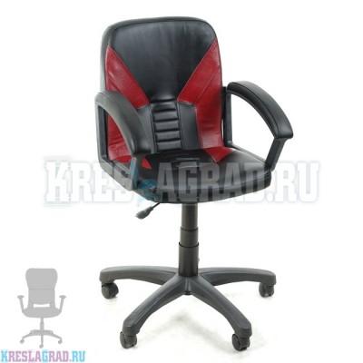 Кресло Фортуна 1 (кожзам Атзек черный, вставки бордовые)