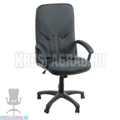 Кресло Фортуна 2 (ткань Трипл. серая, вставки кожзам черные)