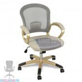 Кресло XY-658 (сетка серая, вставки кожзам, пластик золото)