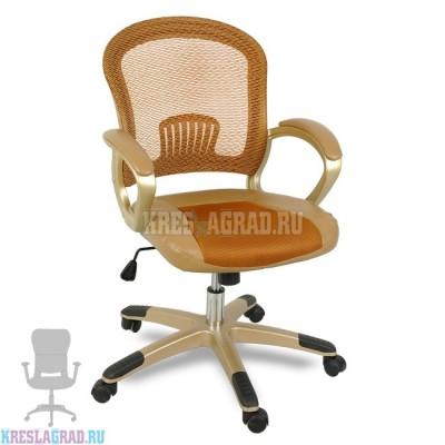 Кресло XY-658 (сетка оранжевая, вставки кожзам, пластик золото)
