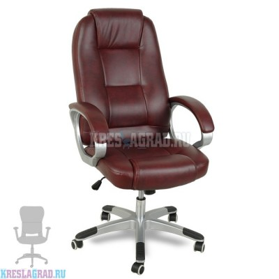 Кресло XY-866 (кожзам бордовый, пластик серебро)