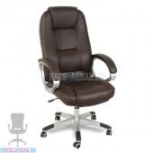 Кресло XY-866 (натуральная кожа, коричневая, пластик серебро)