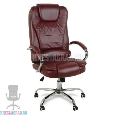 Кресло Y-2601 A (кожзам бордовый, хром)