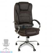 Кресло Y-2601 A (натуральная кожа коричневая, хром)