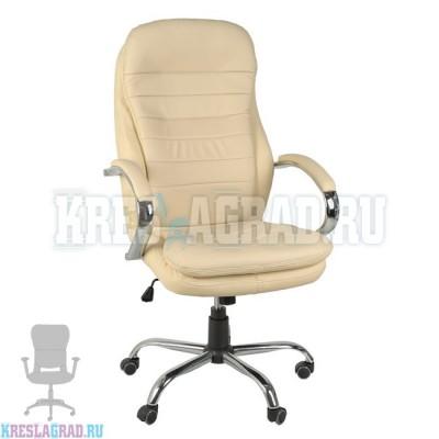 Кресло Y-2601 A (кожзам бежевый, хром)