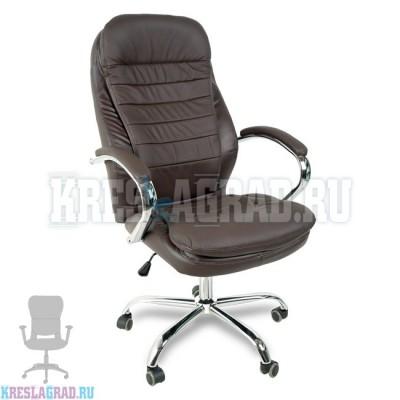 Кресло Y-2601 A (натуральная кожа темно-коричневая, хром)