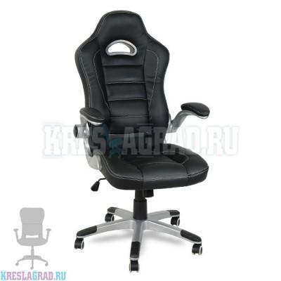 Кресло Y-2738 (кожзам черный, пластик серебро)