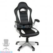 Кресло Y-2738 (кожзам черный, вставки белые, пластик серебро)