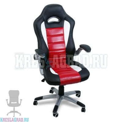 Кресло Y-2738 (кожзам черный, вставки красные, пластик серебро)