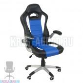 Кресло Y-2738 (кожзам черный, вставки синие, пластик серебро)
