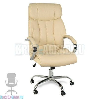 Кресло Y-2866 (кожзам бежевый, хром)