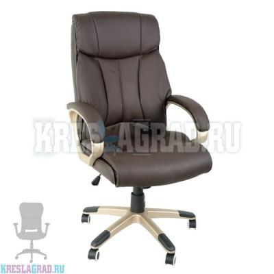 Кресло Y-2866 (натуральная кожа темно-коричневая, пластик золото)