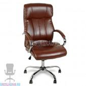 Кресло Y-2866 (кожзам коричневый, хром)