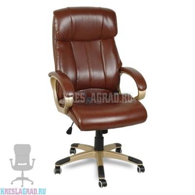 Кресло Y-2866 (кожзам коричневый, пластик золото)