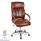 Кресло Y-2866 (кожзам светло-коричневый, хром)