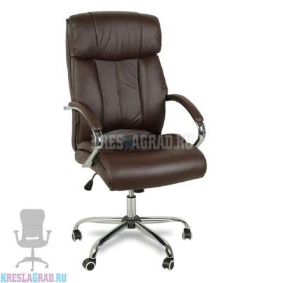Кресло Y-2866 (натуральная кожа коричневая, хром)