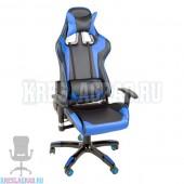 Кресло YF-305-1 (кожзам черный, вставки синие, пластик черный)