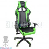 Кресло YF-305-1 (кожзам черный, вставки зеленые, пластик черный)
