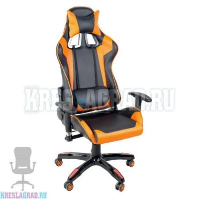 Кресло YF-305-1 (кожзам черный, вставки оранжевые, пластик черный)