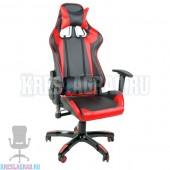 Кресло YF-305-1 (кожзам черный, вставки красные, пластик черный)