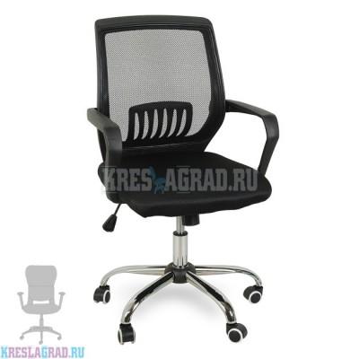 Кресло YF-930-1 (сетка черная, пластик черный, хром)