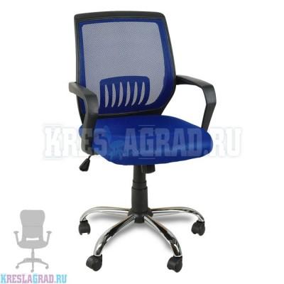 Кресло YF-930-1 (сетка синяя, пластик черный, хром)