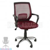 Кресло YF-930-1 (сетка бордовая, пластик черный, хром)