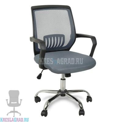 Кресло YF-930-1 (сетка серая, пластик черный, хром)