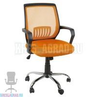 Кресло YF-930-1 (сетка оранжевая, пластик черный, хром)