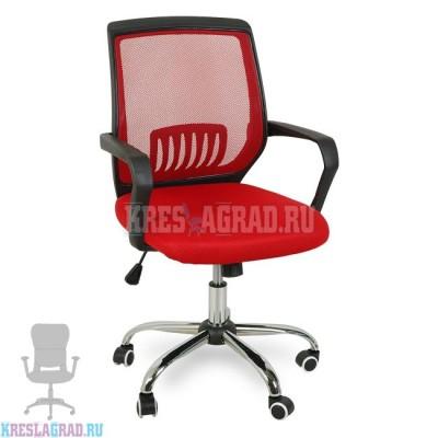 Кресло YF-930-1 (сетка красная, пластик черный, хром)