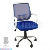 Кресло YF-930 (сетка синяя, пластик белый, хром)