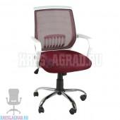 Кресло YF-930 (сетка бордовая, пластик белый, хром)