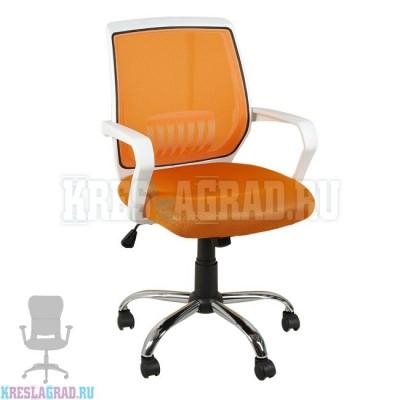 Кресло YF-930 (сетка оранжевая, пластик белый, хром)