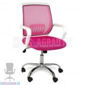 Кресло YF-930 (сетка розовая, пластик белый, хром)