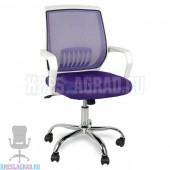 Кресло YF-930 (сетка фиолетовая, пластик белый, хром)