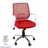 Кресло YF-930 (сетка красная, пластик белый, хром)
