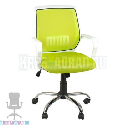 Кресло YF-930 (сетка салатовая, пластик белый, хром)